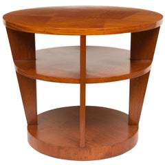 Large Art Deco Satinwood 3-Tier Table