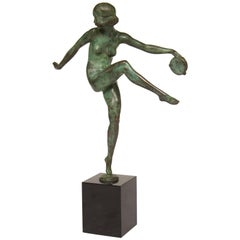 Art Deco Signed Pierre Laurel Bronze Figure of a Tambourine Dancer