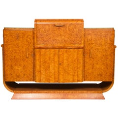 Art Deco Cocktail Bar Sideboard in Bird's-Eye Maple by Harry and Lou Epstein