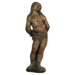 French 16th-17th Century Painted Wooden Statue of Saint Sebastian