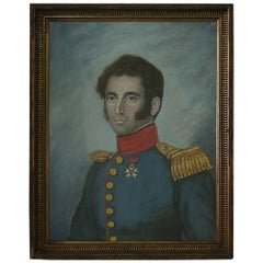 Early 19th Century, French Pastel Portrait of a Young Man in Uniform