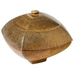 Precious Stoneware Ceramic Box with Gold Touch Signed by Steen Kepp, circa 1975