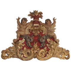 Large Late 18th Century Portuguese Baroque Panel with Angels and Dragons