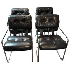 Set of 4 Mariani Black Leather & Chrome Mid-Century Modern Armchairs