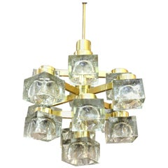 Gaetano Sciolari for Lightolier Italian Modern Frosted Glass Cube Chandelier