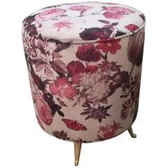 Stool in Velvet Fabric, Flowers Decor, Brass Feet