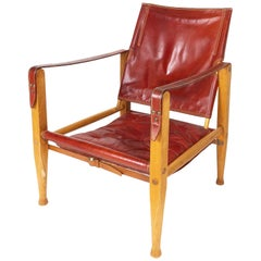 Red Leather Safari Chair by Kaare Klint, Rud Rasmussen, Denmark