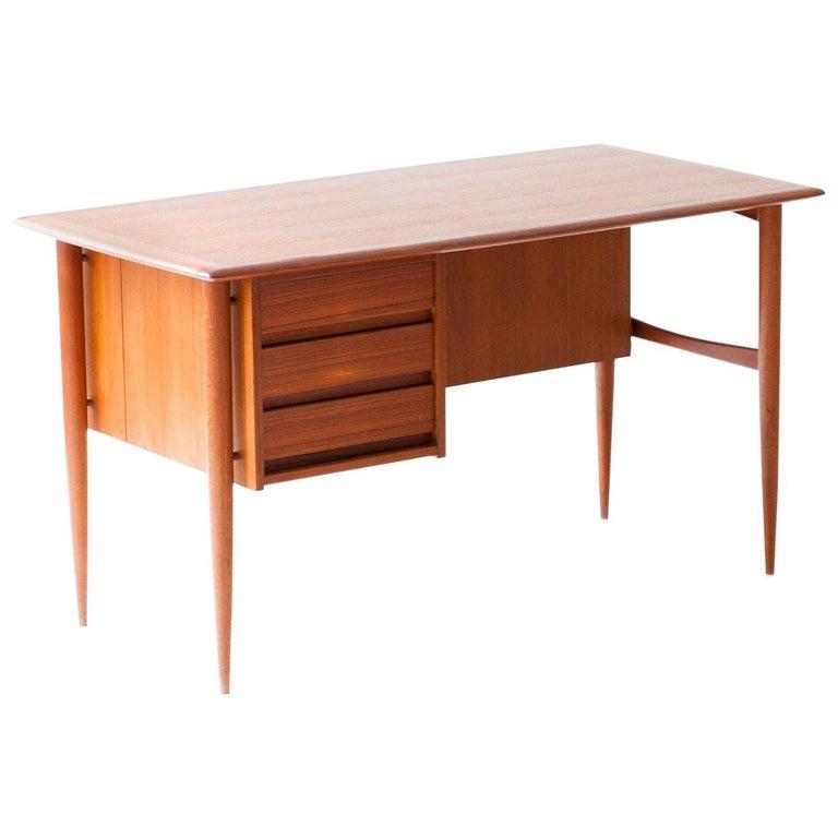 Fully Restored Danish Mid-Century Modern Teak Day Desk, 1950s For Sale