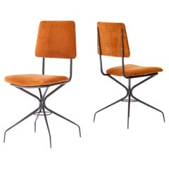 Pair of Italian Natural Suede Leather and Black Enameled Iron Chairs, 1950s