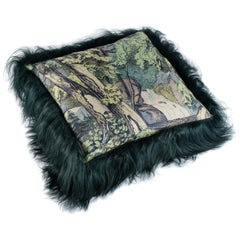 Green Sheepskin Fur and Exclusive Fabric Pillow
