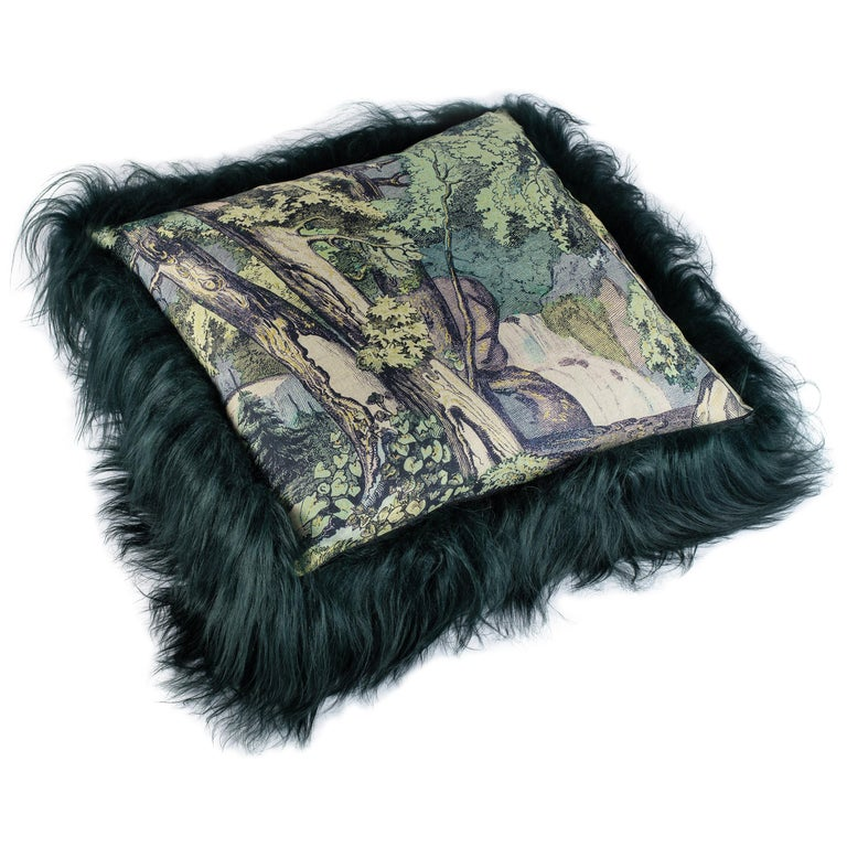 Green Sheepskin Fur and Exclusive Fabric Pillow For Sale