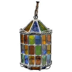 Elegant Illuminated Colored Glass Lantern, circa 1960, French Production