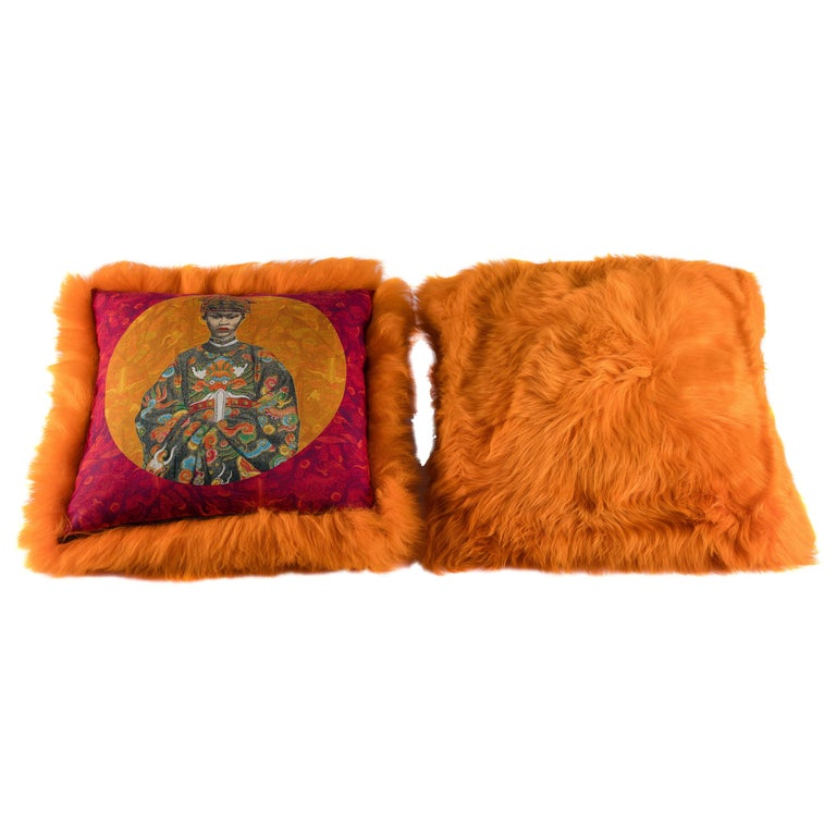 Pair of Orange Sheepskin and Exclusive Fabric Pillows For Sale
