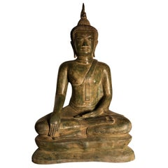 Vintage Buddha Calling Earth to Witness Downcast Eyes, Thailand Cast Bronze