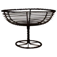 French 19th Century Twisted Wire Pedestal Footed Egg Basket Compote
