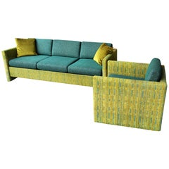 Midcentury Sofa and Club Chair in Teal Wool Cushions with Contrasting Print