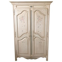 French Country Painted Wardrobe Armoire by Ethan Allen