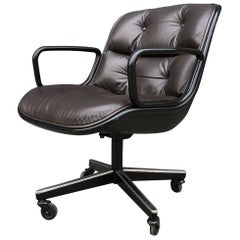 Charles Pollock for Knoll Executive Office Chairs Brown Leather, Midcentury