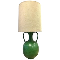 Large Danish Modern Midcentury Green Ceramic Lamp