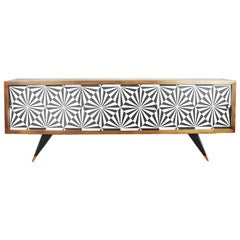 Mid-Century Modern Sideboard with Op-Art Pattern, 1960s