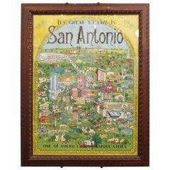 1972 Framed San Antonio, Texas Map
