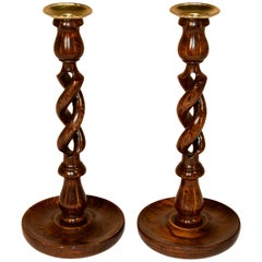 Pair of Open Barley Twist Candlesticks