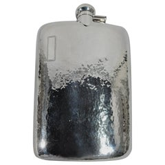 Antique American Craftsman Hand-Hammered Sterling Silver Flask
