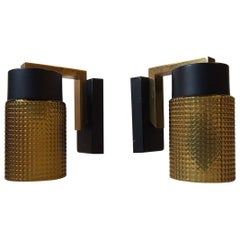 Midcentury Amber Glass and Brass Sconces, 1960s Set of 2