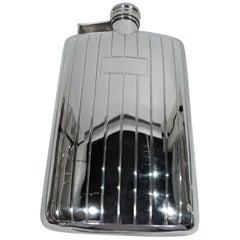 American Art Deco Modern Sterling Silver Flask by International