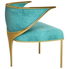 """Luxury Modern """"New York"""" Velvet Upholstered Dining or Living Room Armchair"""