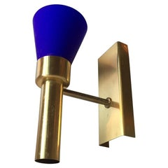 Danish Modern Up-Light Sconce in Blue Glass and Brass from Vitrika, 1960s