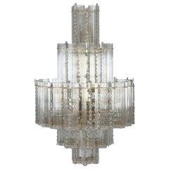 Midcentury Italian Leaded Glass & Brass Chandelier Gaetano Sciolari, Monumental