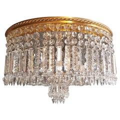Low Plafonnier Crystal Chandelier Brass Lustre Ceiling Lamp Antique Art Nouveau
