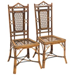 Elegant Pair of Bamboo and Wicker Chairs, Early 20th Century