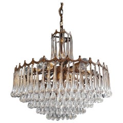 Murano Glass Modern Crystal Chandelier Antique Ceiling Lamp Lustre Brass, 1950s