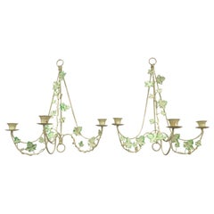 Italian Tole Ivy Sconces, Pair