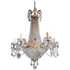 Empire Sac a Pearl Iron Chandelier Crystal Lustre Ceiling Lamp Basket Antique