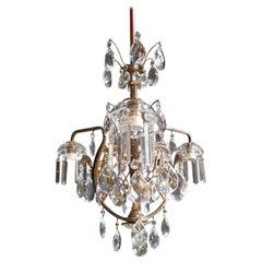 Art Nouveau Crystal Chandelier Lustre Ceiling Lamp Rarity