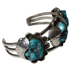 Native American Indian Navajo Silver and Turquoise Bracelet