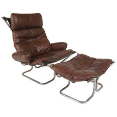 1960s Leather Chair and Ottoman