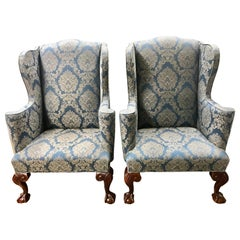 Pair of English Mahogany Ball and Claw with Blue Damask Wingback Chairs