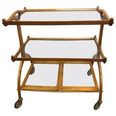 Mid-Century Modern Brazilian Jacaranda Wood Three-Tiered Rolling Bar Cart