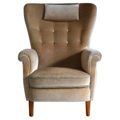 Danish Flemming Lassen or Fritz Hansen Style 1940s High Back Lounge Chair