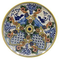Authentic Talavera Decorative Plate Folk Art Wall Hanging Mexican Ceramic Puebla