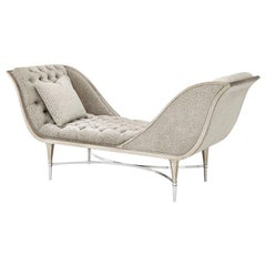 Aramis Contemporary Chaise Lounge in Silver Leaf