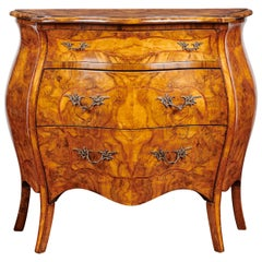 19th Century, Louis XV French Burl Walnut Bombe Commode