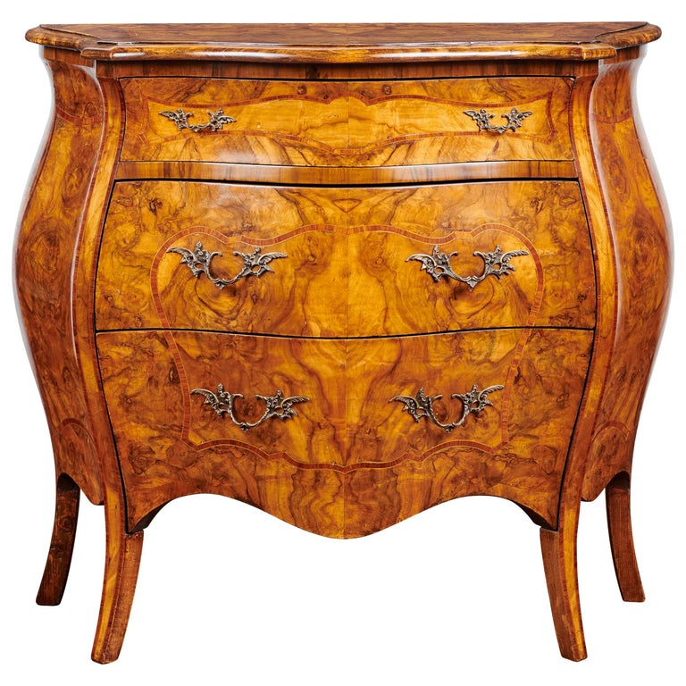 19th Century, Louis XV French Burl Walnut Bombe Commode For Sale