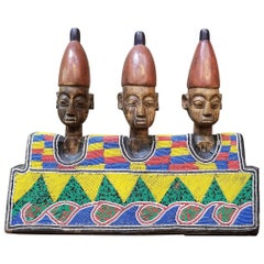 Hand Carved African Wood and Beaded Sculpture