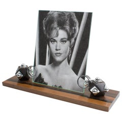 Art Deco 1930s Modernist Macassar and Chrome Picture Photo Frame