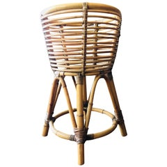 Mid-Century Modern Vintage Cane Bamboo Plant Stand